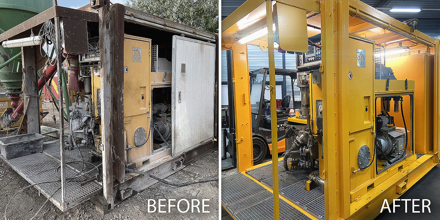 Before and after mix pump unit